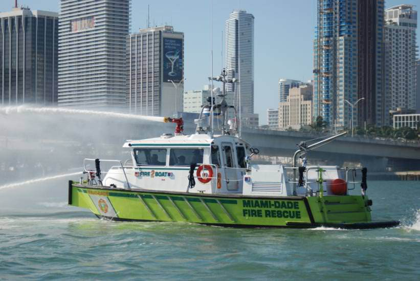 Several MetalCraft Marine vessels are in-service in the Miami area, including this FireStorm 36 with Miami Dade County.