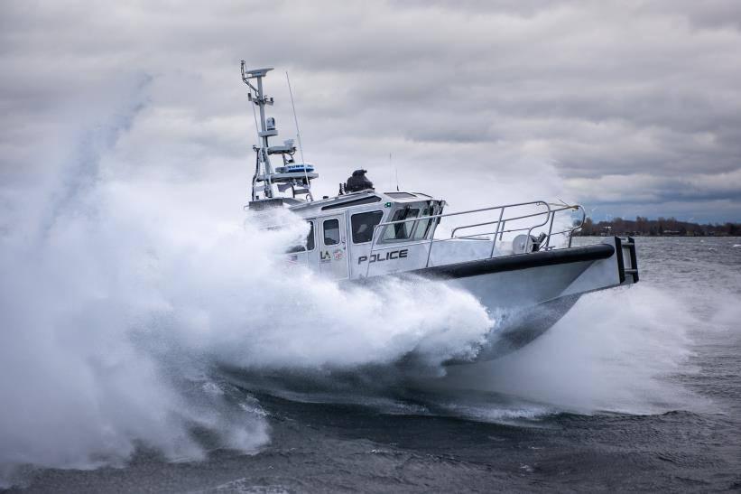 Los Angeles Port Police Interceptor in rough water sea trials