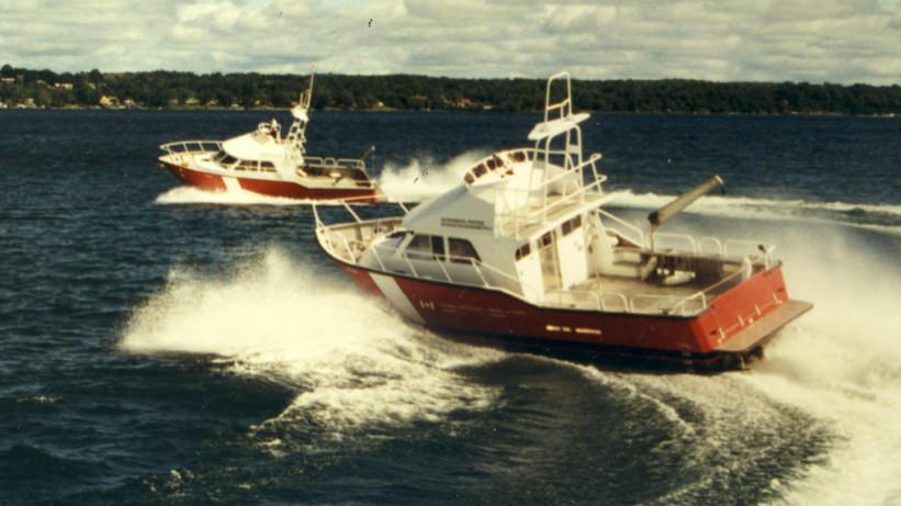 A pair of MetalCraft Marine Kingston 40 high-speed aluminum search and rescue patrol boats for the Canadian Coast Guard.